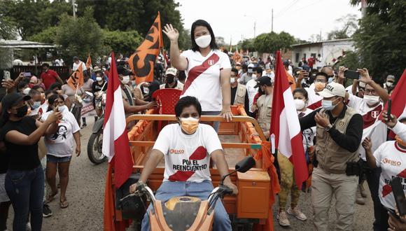 La lideresa de Fuerza Popular recorrió Piura este jueves como parte de sus actividades de campaña. (Foto: César Campos)