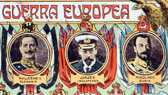 El káiser Guillermo II (izq.) y el zar Nicolás II (der.) eran primos hermanos del rey británico Jorge V (centro) y todos formaban parte de la familia de la reina Victoria. (Getty Images).