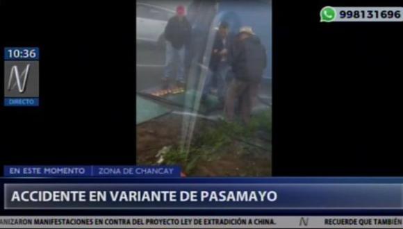 Accidente se registra a la altura de kilómetro 50 de la carretera Panamericana Norte. (Captura: Cana N)