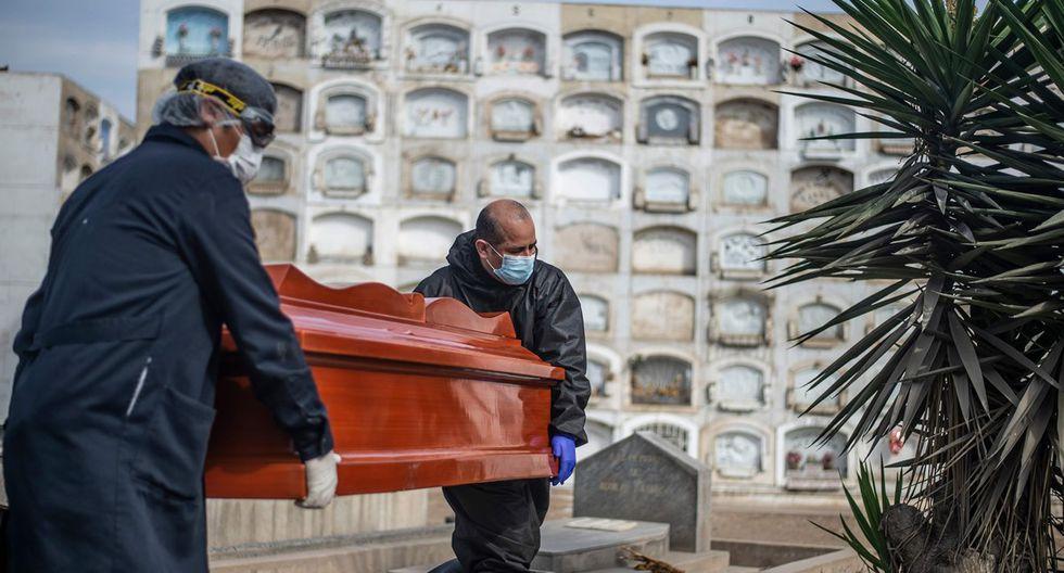 Trabajadores llevan un ataúd con el cuerpo de una víctima de COVID-19 en el cementerio El Ángel, en Lima. (Foto: AFP).