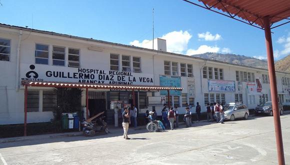 El  Hospital Regional de Apurímac  informó que el paciente permanecerá en observación por los antecedentes referidos. (Foto: Facebook)