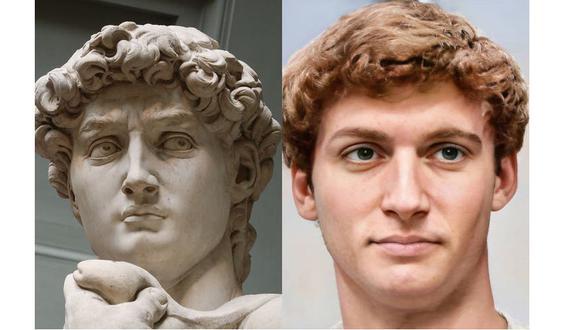 El David de Miguel Angel y el probable aspecto que quizá tuvo el modelo que usó el artista. (Difusión)