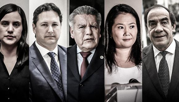 Excongresistas postulan a la presidencia de la República en el 2021. De izquierda a derecha: Verónika Mendoza (Juntos por el Perú), Daniel Salaverry (Somos Perú), César Acuña (APP), Keiko Fujimori (Fuerza Popular) y Yonhy Lescano (Acción Popular).