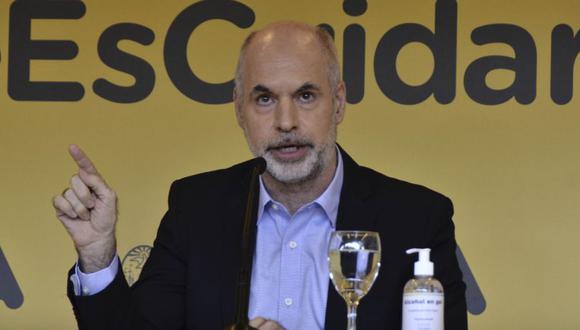El Jefe de Gobierno de la Ciudad Autónoma de Buenos Aires Horacio Rodríguez Larreta durante una conferencia de prensa en Buenos Aires en medio de la pandemia de COVID-19.  (Foto: Eliana OBREGON / TELAM / AFP).