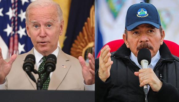 El Departamento de Estado emitió un comunicado respecto a la decisión de impedir el paso de 50 nicaragüenses. En la foto vemos a los presidentes Joe Biden y Daniel Ortega. (Foto: AFP/ Composición: El Comercio)