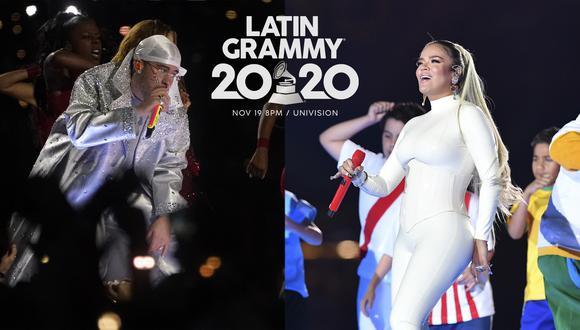 Bad Bunny y Karol G deleitaran con sus presentaciones en los Latin Grammy 2020. (Foto: Timothy A. Clary y Pedro Ugarte para AFP; Logo: Latin Grammy 2020)