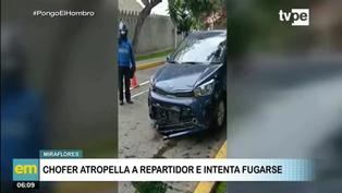 Miraflores: Chofer embiste a motorizado e intenta darse a la fuga