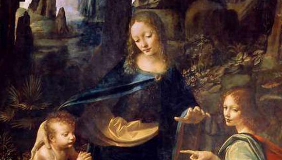 """Parte del cuadro """"La Virgen de la Rocas"""" de Leonardo da Vinci. (Foto: El Mercurio, GDA)"""
