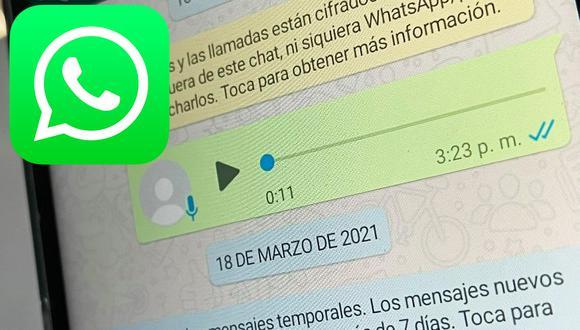 Conoce el truco para poder saber dónde se almacenan todos los audios que recibes en WhatsApp. (Foto: MAG)