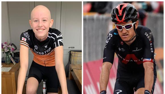 Evie Hartley, ciclista de 13 años diagnosticada con cáncer, conoció a su ídolo Geraint Thomas. (Foto: Justgiving.com | AFP)