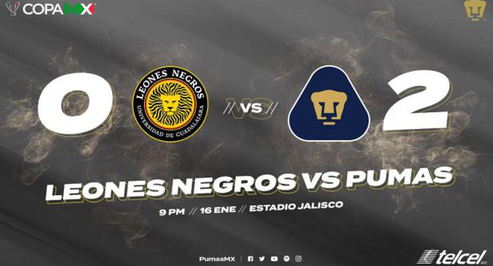 Pumas venció 2-0 a Leones Negros por la Copa MX. | Foto: Pumas