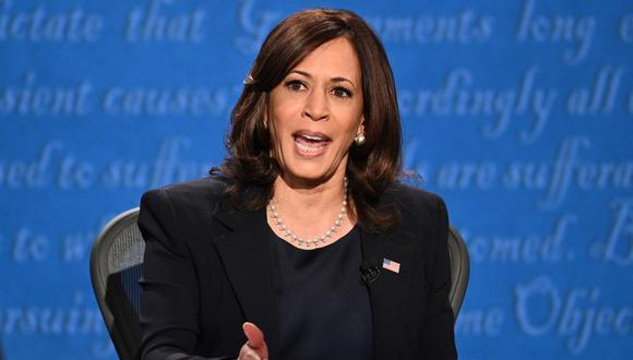 La candidata demócrata Kamala Harris debate con el vicepresidente Mike Pence. (Robyn Beck / AFP).
