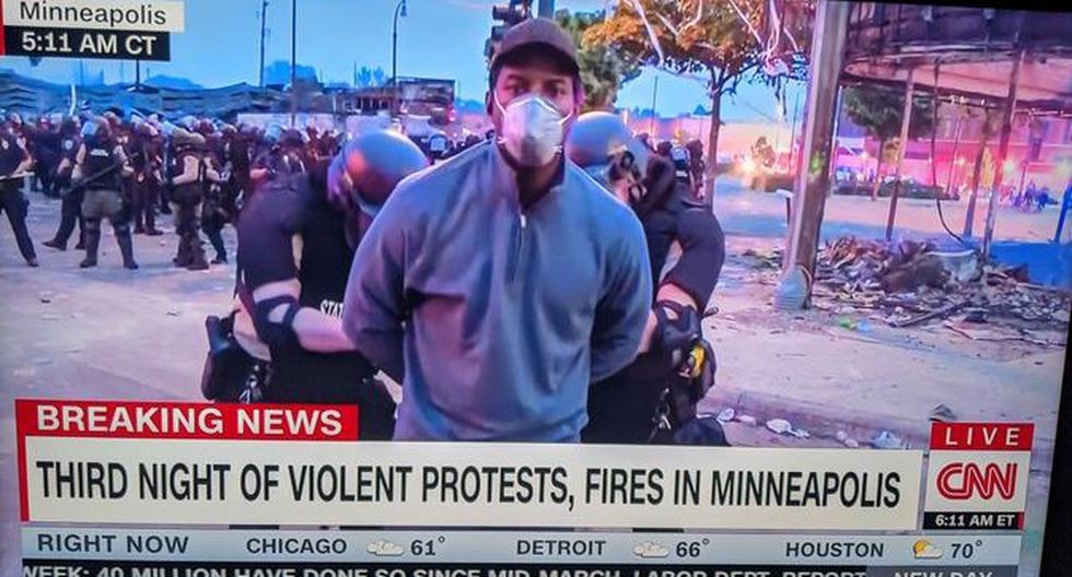 Muerte de George Floyd: Policía de Minneapolis detiene a periodista de CNN Omar Jiménez durante transmisión en vivo de las protestas. (Captura de video, CNN).