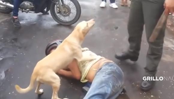 Así fue como este perro defendió a 'capa y espada' a su dueño durante toda la noche, hasta que este despertó para abrazarlo por haber cuidado de él a pesar de estar ebrio. (Foto: YouTube Viral)