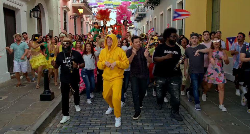 Bad Bunny con Jimmy Fallon y The Roots en Puerto Rico. (Foto: Facebook)