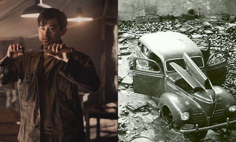"""Izq.: Chester Nakayama (Derek Mio), protagonista de """"The Terror: Infamy"""". Der.: un auto de la colonia japonesa destruido en Perú a inicios del siglo XX, donde fueron víctimas de la xenofobia. Fotos: AMC/ Cortesía."""