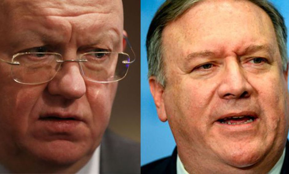 Vasily Nebenzya de Rusia y Mike Pompeo de Estados Unidos se enfrentaron en el Consejo de Seguridad de la ONU.
