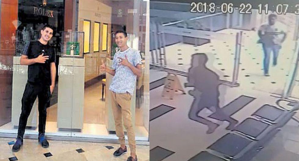 Las fotos halladas en un celular de los presuntos delincuentes, comparadas con las imágenes de las cámaras de seguridad del Jockey Plaza, ayudará a la policía a identificar a la banda que asaltó la joyería Casa Banchero. (USI)