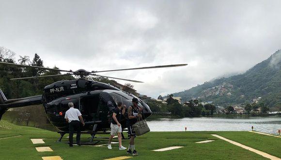 Neymar llegando a las prácticas de Brasil en su helicóptero personal. (Foto: Globoesporte)