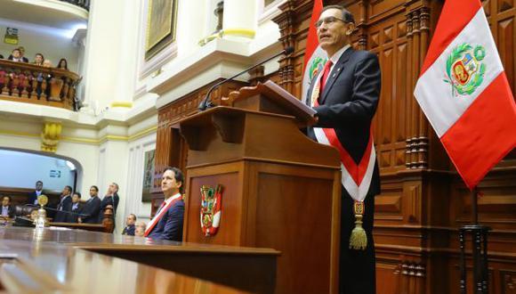 Martín Vizcarra iba a acudir el miércoles al Congreso. Salaverry cuestionó que el mandatario haya planeado hacerlo en su ausencia. (Foto: Presidencia)