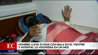 Hombre lleva 21 días con una bala alojada en el vientre y hospital lo atenderá en un mes