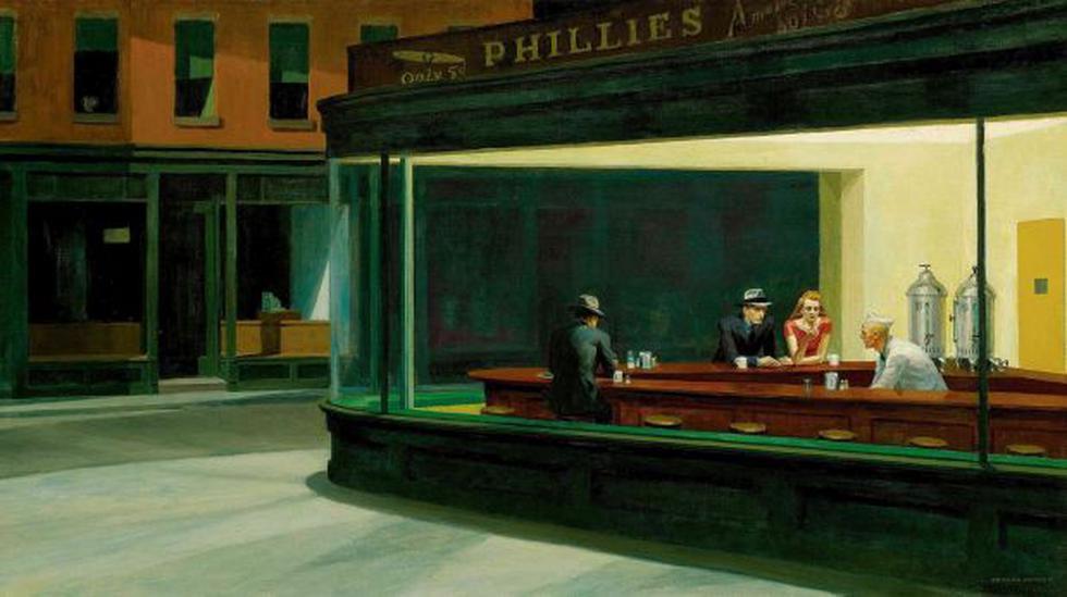 """""""Nighthawks"""" (1942) es quizá el cuadro más famoso de Hopper, donde resume  con precisión su visión sobre el mundo."""