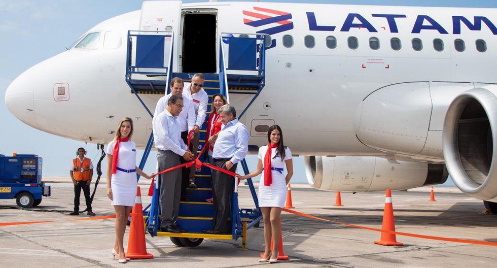 La nueva ruta de Latam tendrá tres frecuencias semanales. En la ceremonia de inauguración estuvo presente el presidente de la República, Martín Vizcarra.