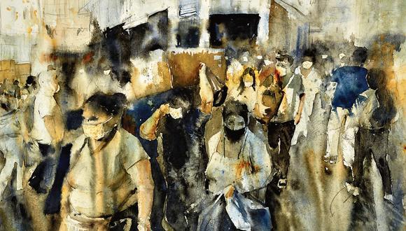 Mascarilla y un distanciamiento imposible es lo que presenta Paul Veraún Torres en uno de los trabajos seleccionados en la muestra. Foto: Centro Cultural Británico.