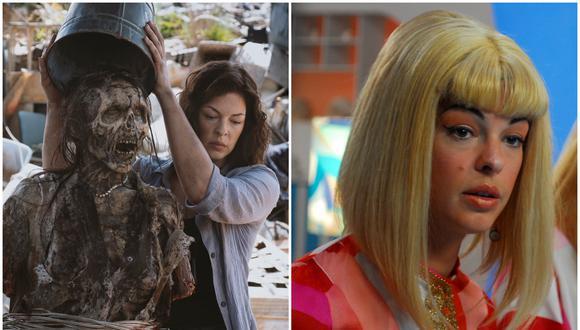 """A la izquierda, Pollyanna McIntosh como Jadis en """"The Walking Dead"""". A la derecha, como la Sra. Terrier en """"La Cosa"""" de Álvaro Velarde. Fotos: Difusión,"""