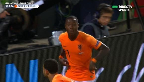 Holanda vs. Inglaterra: Promes anotó el 3-1 luego de un nuevo error en salida de los británicos. (Foto: captura)