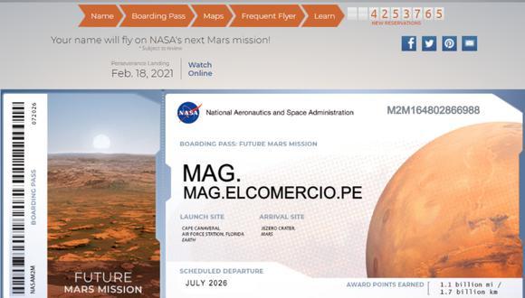 La NASA permite enviar tu nombre a Marte. (Foto: NASA)