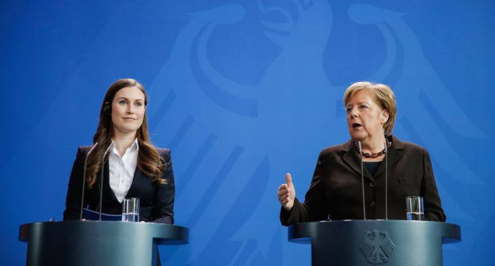 La primera ministra de Finlandia, Sanna Marin, y la canciller alemana, Angela Merkel, son dos de las líderes más destacadas en la actualidad. (Photo by Odd ANDERSEN / AFP)