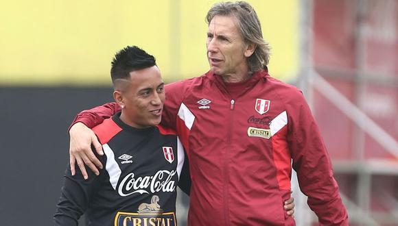 La relación de confianza que tiene Ricardo Gareca y Christian Cueva. (Foto: GEC)