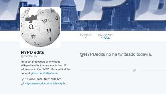 Twitter: bot reportará cambios a Wikipedia por la policía de NY
