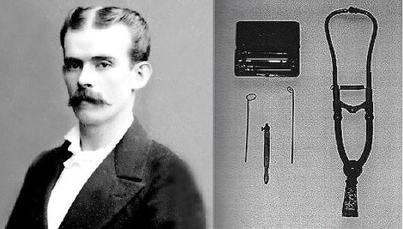 """A la izquierda, la imagen de Juan M. Byron y a la derecha, sus instrumentos médicos. (Fuente: Libro """"Dr. Juan Byron Markholz: su vida y su obra"""" de Alfonso Montagne Vidal)"""