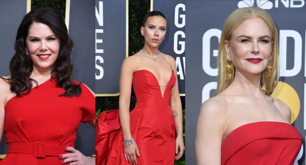 El color rojo fue ganador en la alfombra roja de los Globos de Oro 2020. Actrices como Scarlett Johansson y Nicole Kidman lo incluyeron en sus looks. (Fotos: AFP)
