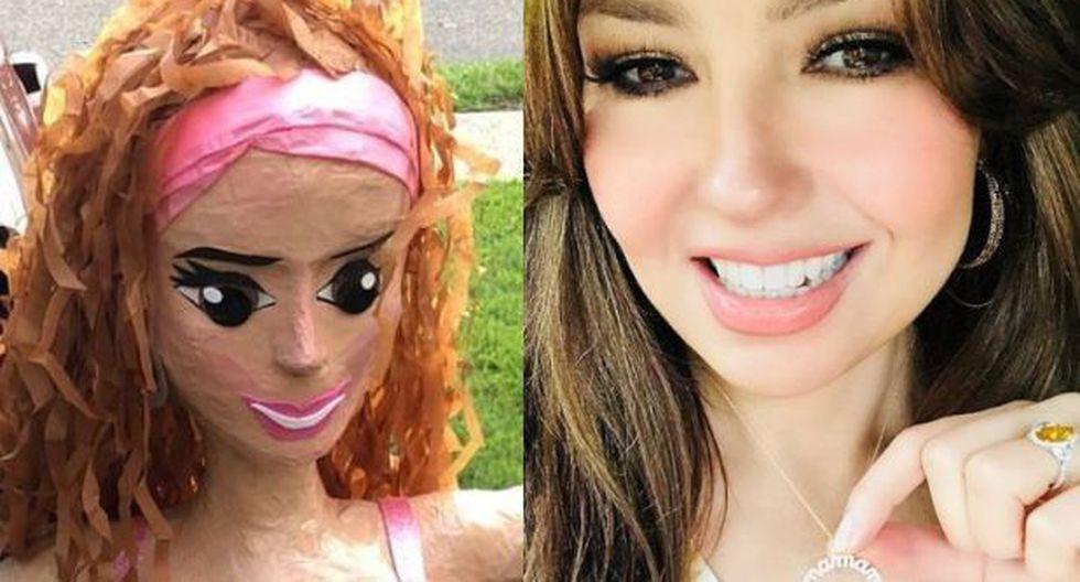 Thalía sorprendida por su piñata. (Fotos: Instagram)