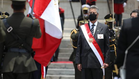 El presidente Sagasti es reconocido por las Fuerzas Armadas en Palacio de Gobierno. (Foto: Britanie Arroyo/GEC)