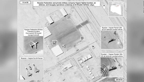 Nuevas imágenes publicadas por el ejército de Estados Unidos el viernes supuestamente demuestran la participación de Rusia en Libia. (AFP).