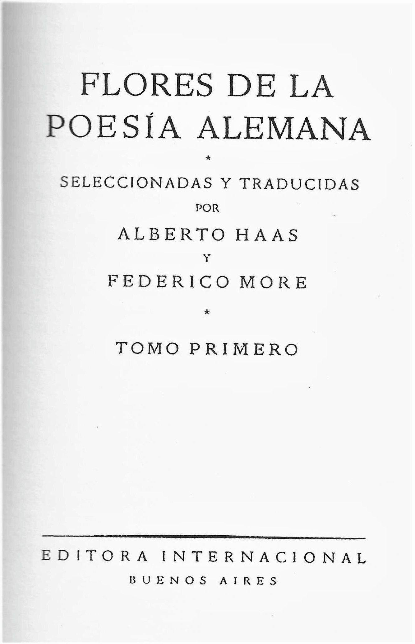"""Portada de """"Flores de la poesía alemana"""", libro de Editora Internacional, publicado en Buenos Aires, y seleccionado y traducido por Alberto Haas y Federico More."""