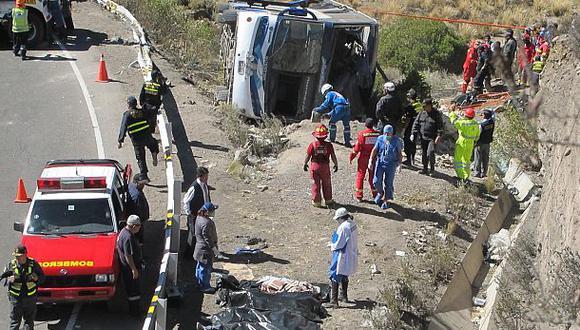 Puno: cinco muertos tras volcadura de bus desde Tacna
