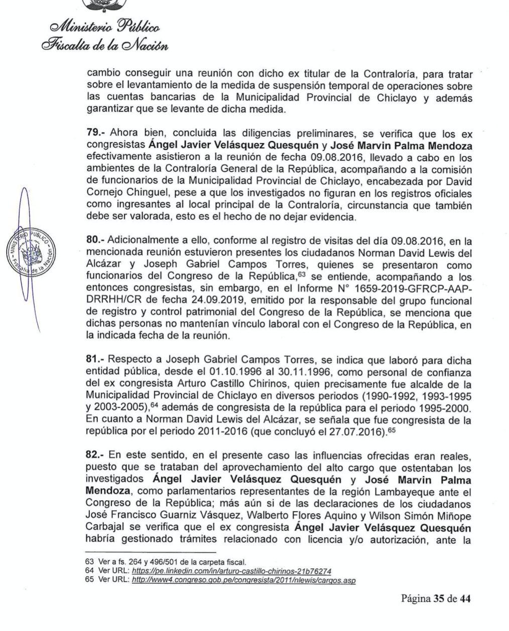 Denuncia constitucional contra Edgar Alarcón, Javier Velásquez y Marvin Palma.
