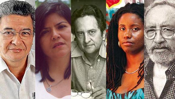 José Watanabe, Ana Varela, Manuel Scorza, Mónica Carrillo y Pablo Guevara. son algunos de los poetas cuya obra es analizada a profundidad en este libro (Fotocomposición: El Comercio).