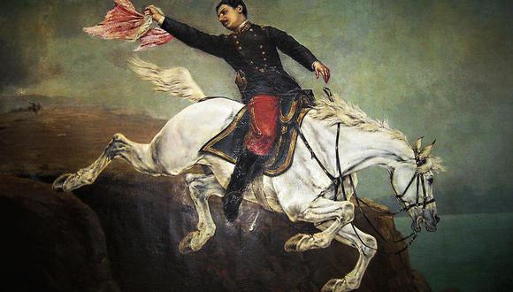Una de las pinturas más icónicas de la guerra con Chile: Alfonso Ugarte lanzándose del morro. Sin embargo, no hay evidencias   de que el héroe haya saltado.