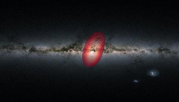 Los anillos de colores muestran la extensión aproximada de las estrellas que provienen de la galaxia fósil conocida como Heracles. (Foto: DANNY HORTA-DARRINGTON ESA/GAIA, SDSS)