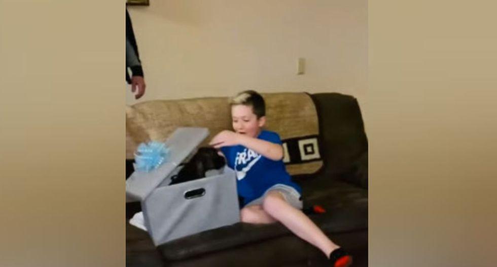 Los padres del niño le habían entregado una caja enorme. Él menor, al abrirla, se dio cuenta que era lo que tanto quería. (YouTube: ViralHog)