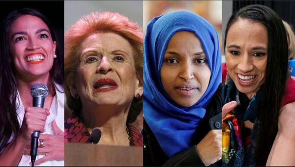 Elecciones en Estados Unidos: De izquierda a derecha Alexandria Ocasio-Cortez, Debbie Murcasel-Powell, Ilhan Omar y Sharice Davids. (Fotos: AFP, Reuters, EFE).