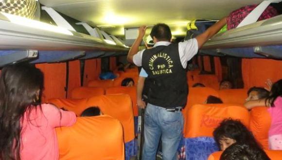 Bus interprovincial fue asaltado por 7 sujetos armados