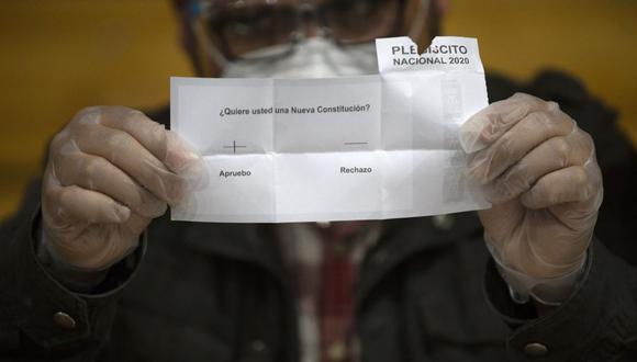 Plebiscito en Chile: Un miembro del personal electoral cuenta las papeletas después del cierre de las urnas en la escuela secundaria Amunategui en Santiago. (Foto de CLAUDIO REYES / AFP).