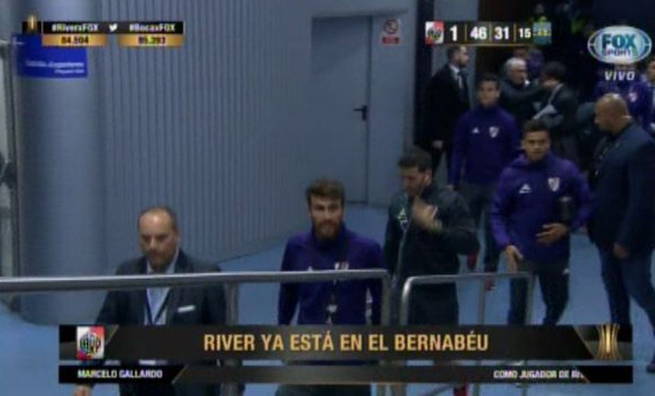 River Plate llegó al Estadio Santiago Bernabéu a casi dos horas de la final de la Copa Libertadores. (Captura: Fox Sports)